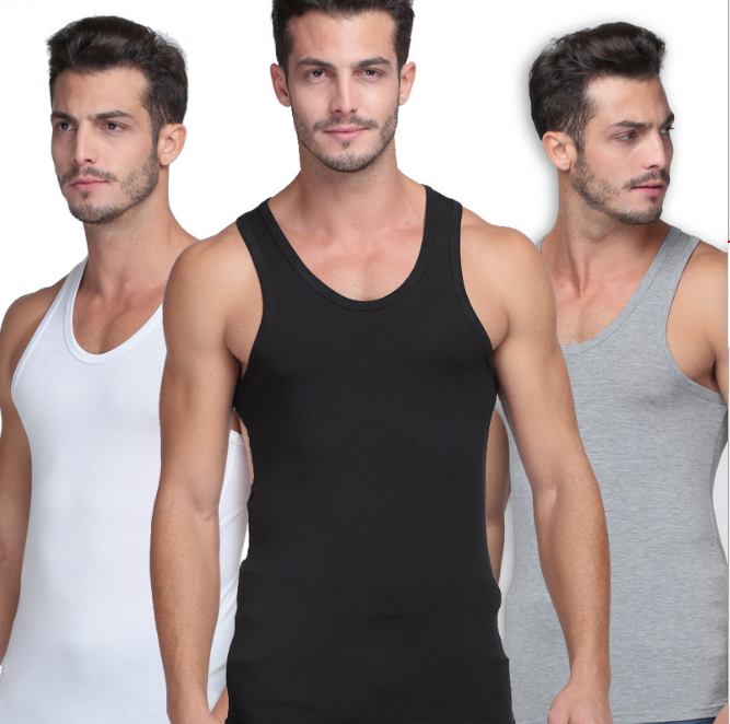 Wholesale cheaper 100% cotton summer men's T-shirts Muscle gym Cheap men's sleeveless T-shirts