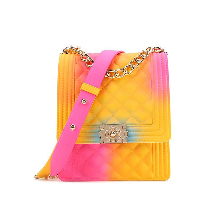 Amazon USA hotsale fashion lady bag purse chain rainbow pvc girl handbag colorful shoulder purse jelly crossbody woman bag