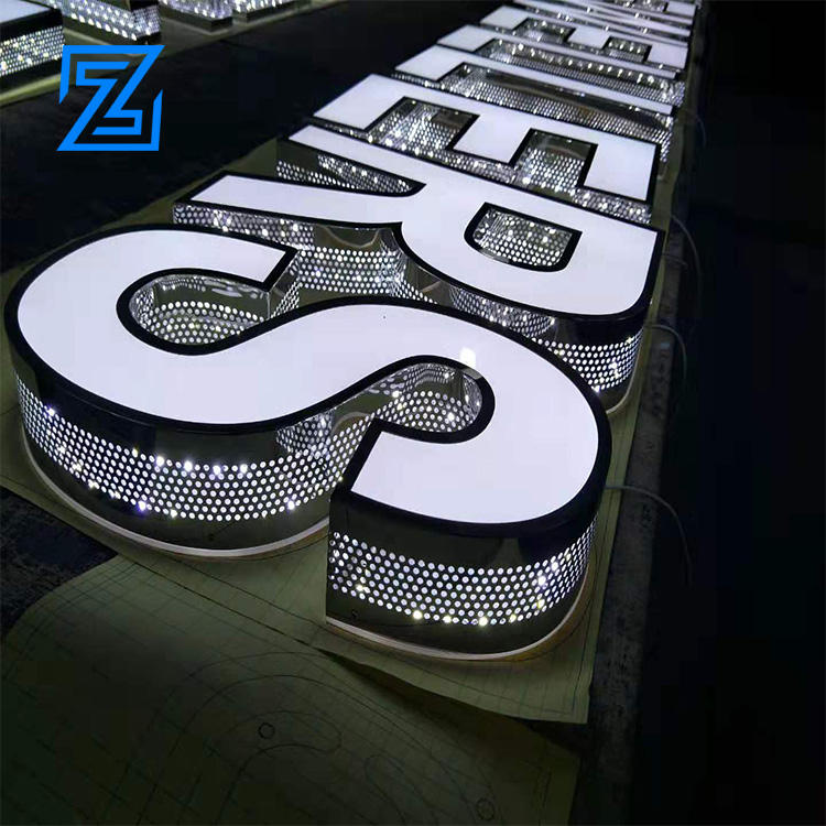3D logo acrylic + stainless steel waterproof open signage off LED neon signboard letters outdoor LED 3D sign