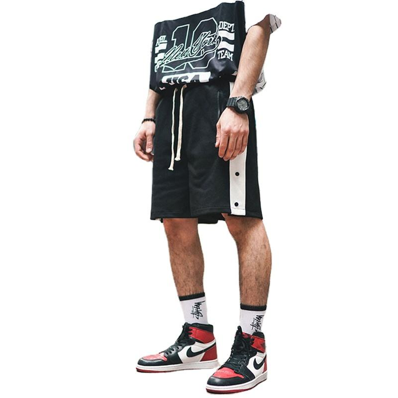 custom logo Mens open blank black sweat cargo sports basketball shorts pants with Button zippers