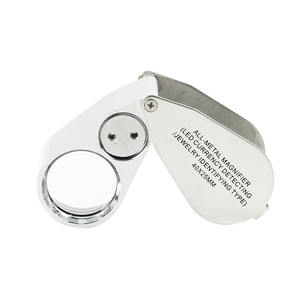 NO.9890 40X Full Metal Illuminated Jewelry Loop Magnifier, Pocket Folding Magnifying Glass Jewelers Eye Loupe with LED UV