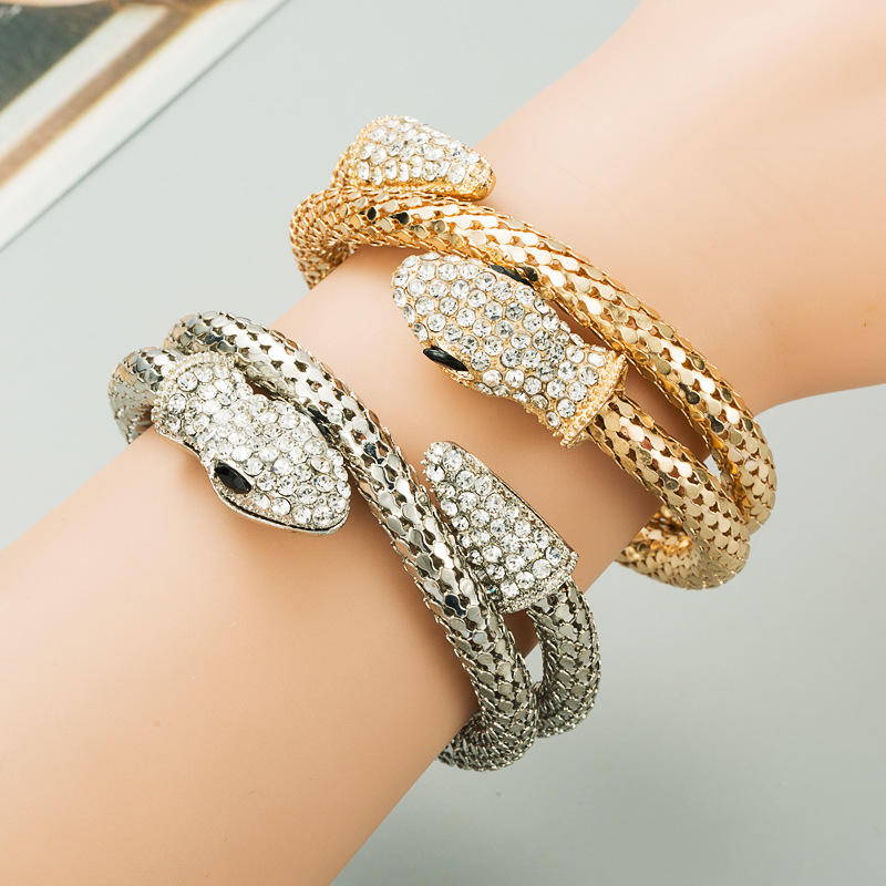 European Designer Creative Exaggerated Punk Hip-Hop Male And Female Bracelet Alloy Diamond Retro Snake-Shaped Winding Bracelet