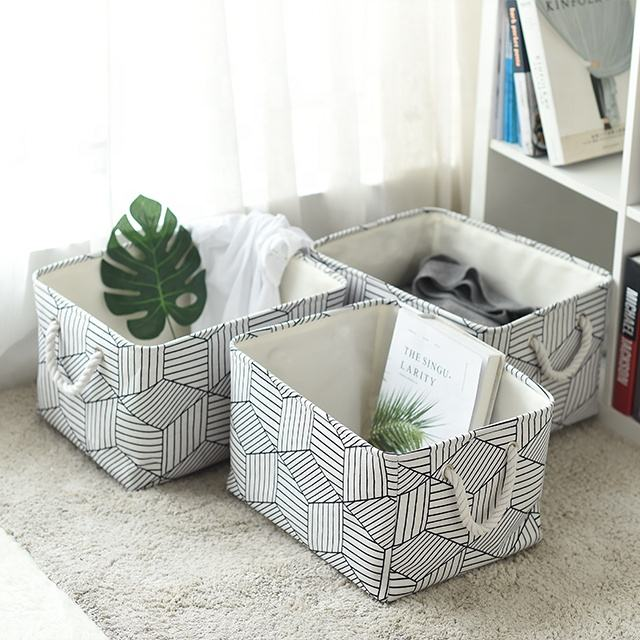Canvas Storage Basket Fabric foldable Organizer with Handles for Toys, Clothes, Kids Room, Nursery, gift