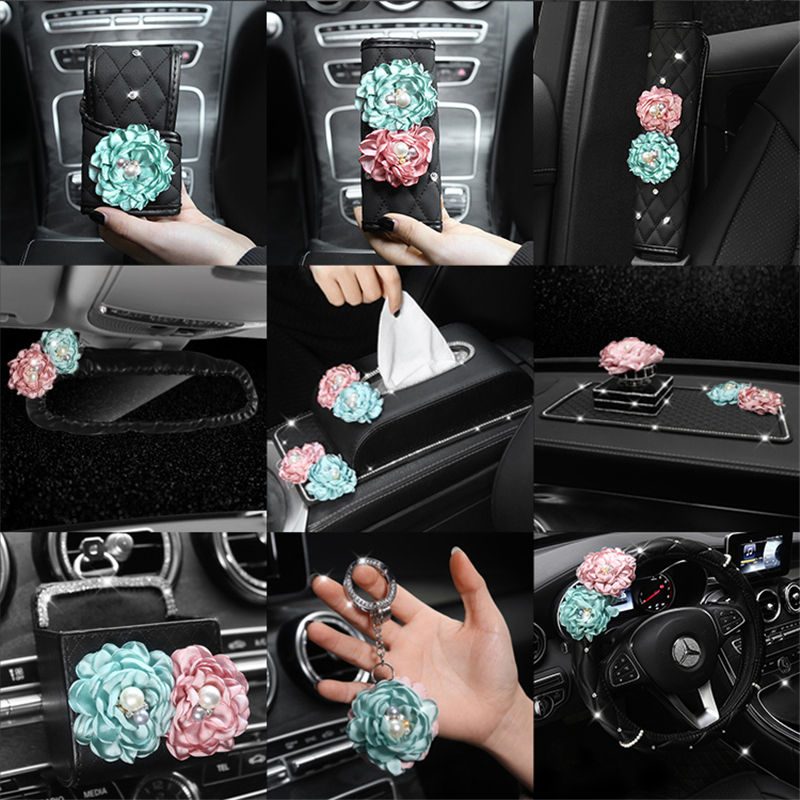 Rose Flower Car Seat Belt Cover Universal Car Styling Gear Cover Rear View Mirror Cover Rhinestone Women