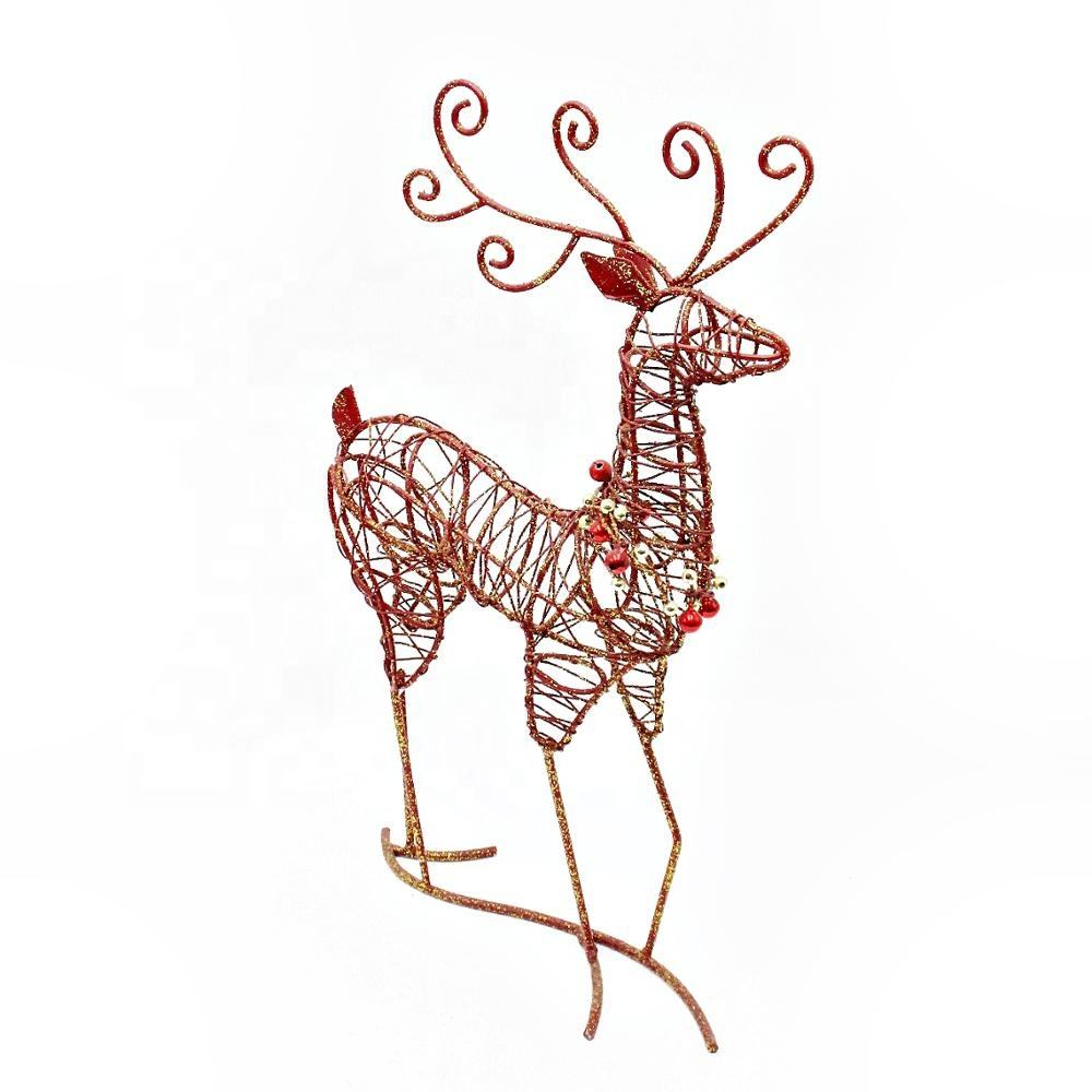 Wholesale Metal Wire Glittered Reindeer Tabletop Centerpiece Christmas Ornaments Indoor Decoration
