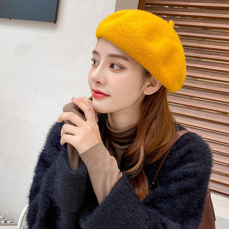2020 New Product Hat Ladies Autumn and Winter Europe and America Wool Beret Warm Octagonal Hat Wholesale