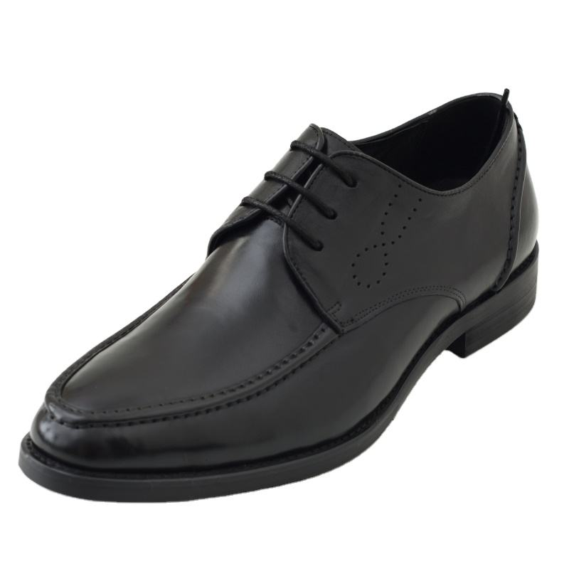 Cap-Toe Formal Shoes Casual Genuine Leather Mens Wedding Shoes Solid Black Color Derby Style High Quality