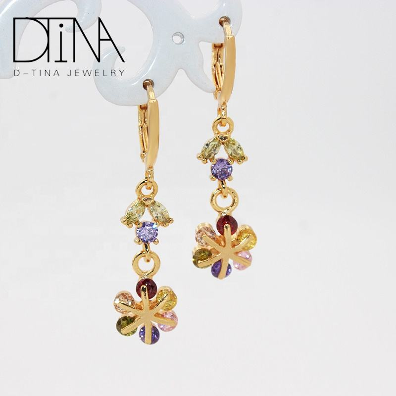 DTINA Beautiful Female Earbob Elegant Color Zircon Jewelry Suitable Earrings