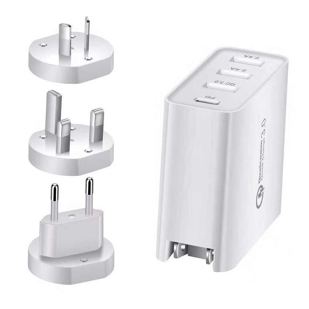 48W Fast Charge US EU UK Plug 3 Port Usb pd 18w Wall Charger for iPhone QC3.0 USB Travel Charger
