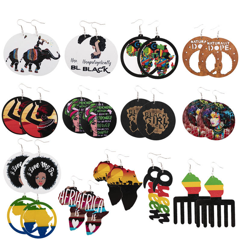 Amazon Customized Designs African American Earrings Round Wooden Earrings African Women