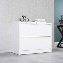 Knock-down structure two drawer lateral metal file cabinet