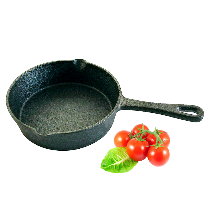 "5"" Black color small size seasoned round cast iron baking pans for cakes"