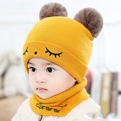 wholesale custom knitted newborn baby hat and scarf set with fur pom