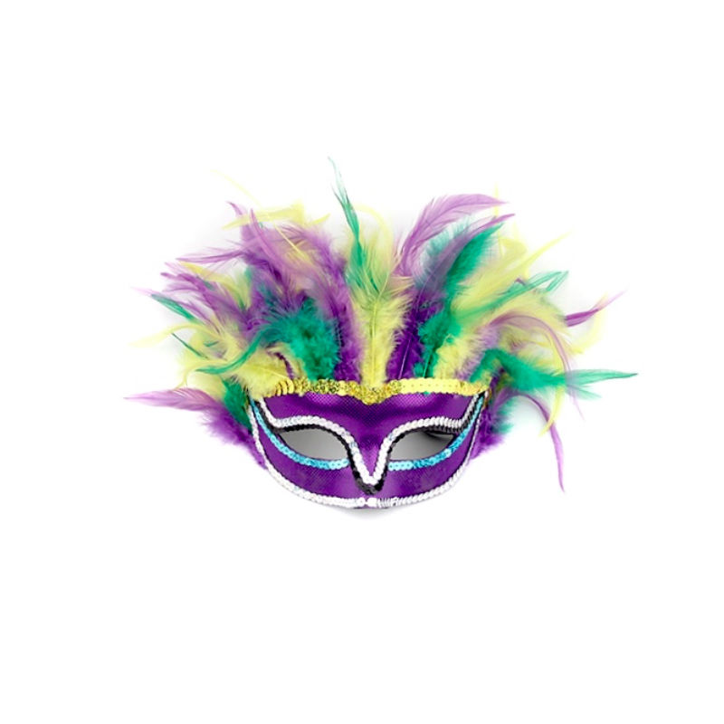 Mardi Gras Feather Mask Gold Green & Purple Masquerade Party Mask