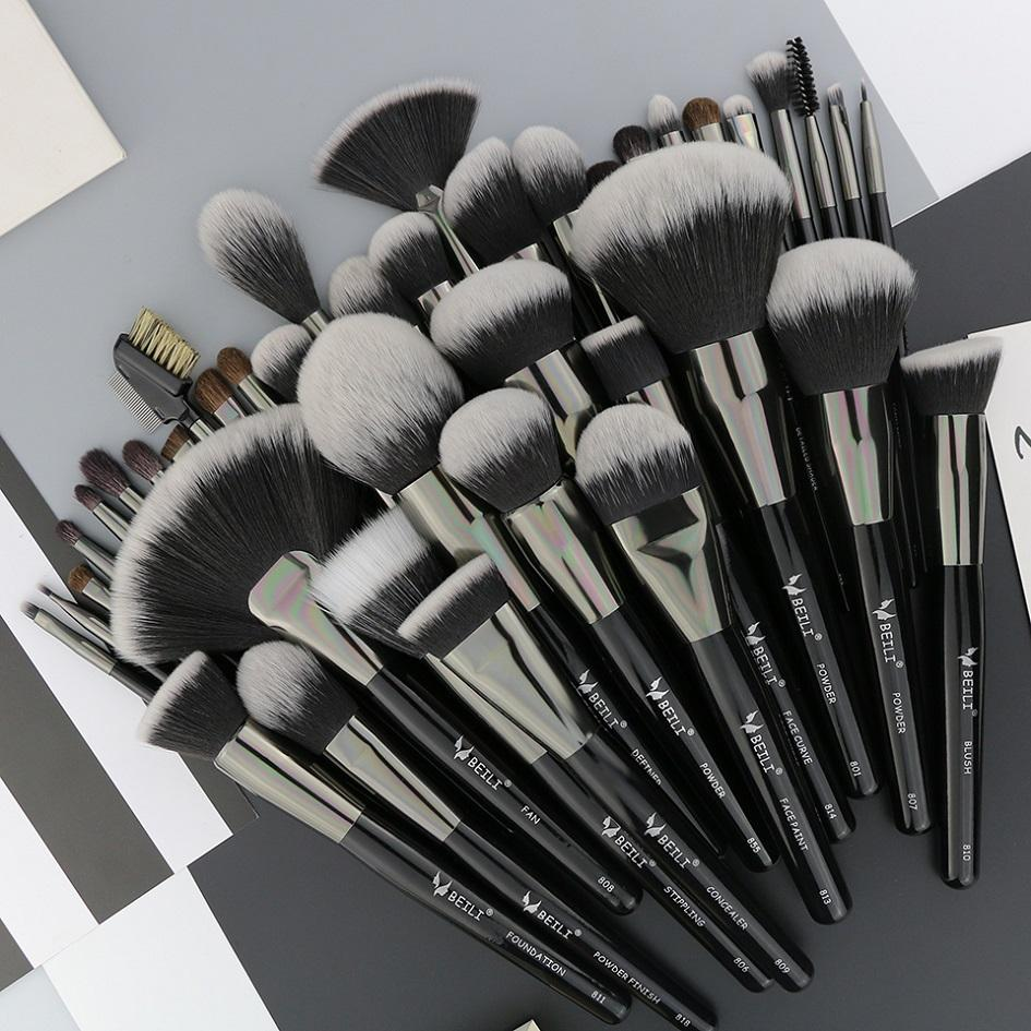 BEILI Pro black makeup brush set powder foundation cosmetic tool set pinceaux maquillage private label makeup brushes 40pcs
