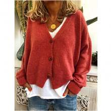 New Style Women Spring Casual loose sweater Cardigan Button Coat
