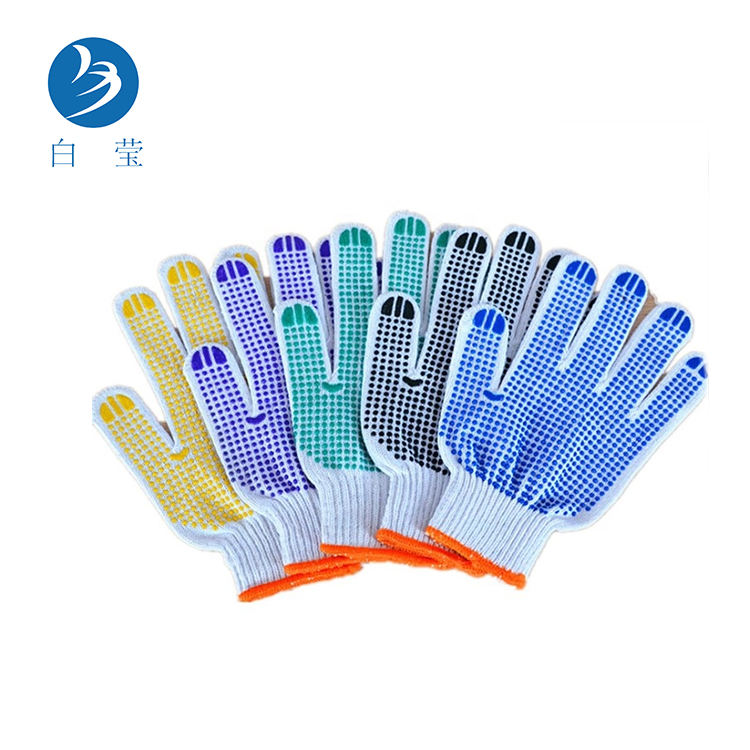 Cotton Knitted anti-cut Cotton Gloves GMG Blue Thin PVC dot working gloves