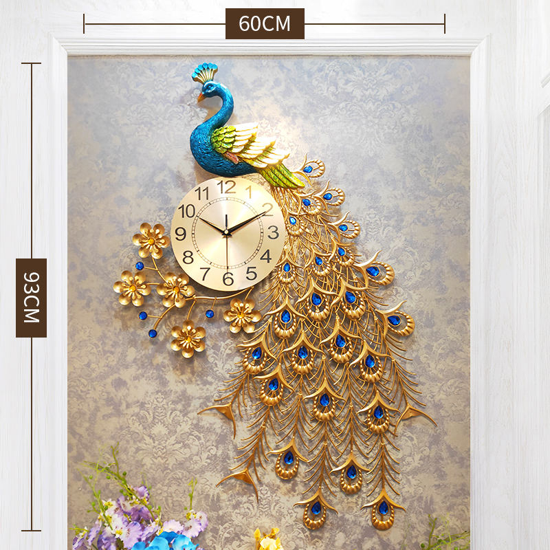 3D Handmade 80cm Metal Peacock Luxury Wall Clock For Home Decoration