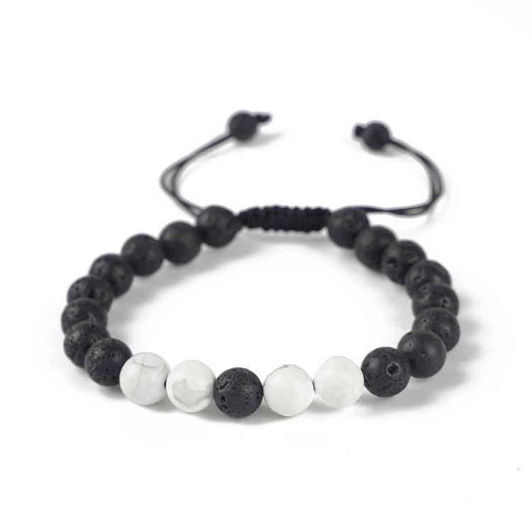 Fashion Natural Stone Bracelet 8mm black lava & howlite macrame yinyang bracelet