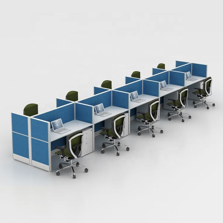 Cubicle foshan manufacturers modern design T8 computer desk partitions 10 person call center office workstation