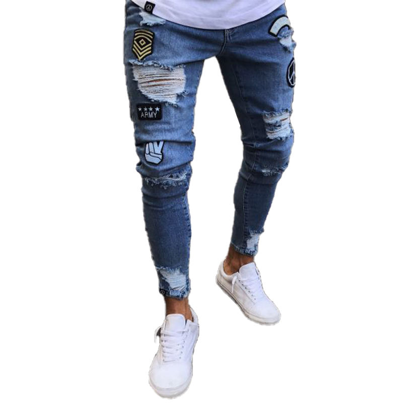 Mens Stretchy Ripped Skinny Jeans Destroyed Taped Slim Fit Denim Pants