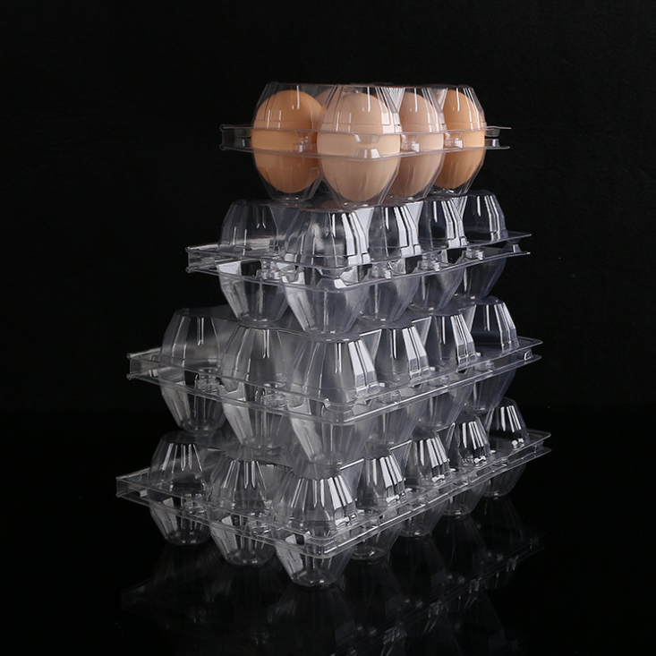 Disposable 4/6/8/10/12/15/20/30 holes egg carton packing tray suppliers transparent PET plastic blister trays for eggs