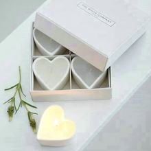 Heart shaped White ceramic candle gift set Pack of 4 for valentine's day