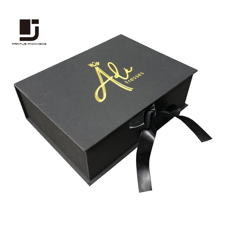 Luxury black ribbon closure paper gift box package lined with satin