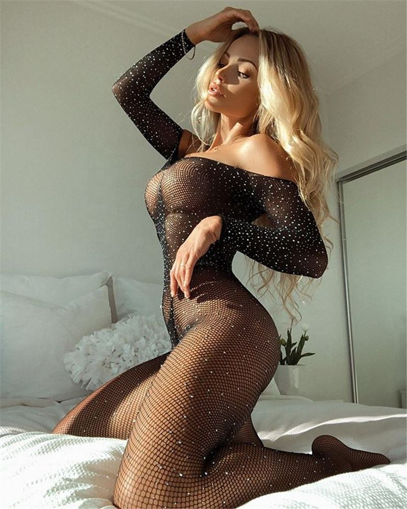 Body Stockings Open Crotch Bodysuit Sequin Fishnet Sexy Lingeries Hot Transparent Erotic Seductive Lingerie Sexy Babydoll
