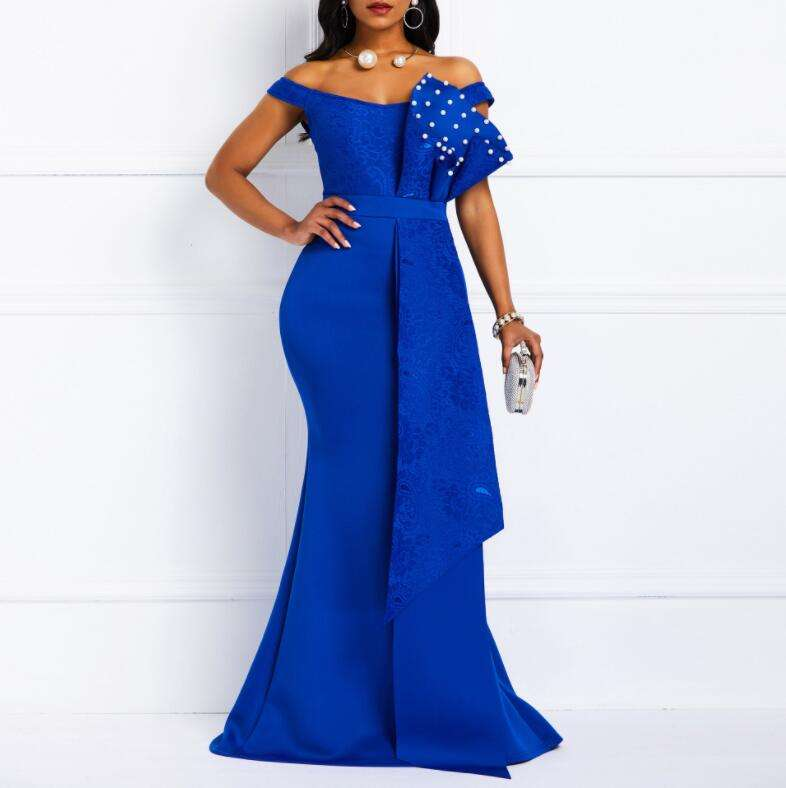 Sexy Off Shoulder Ruffle Pencil Long Beading Evening Party Wear Dress For Women