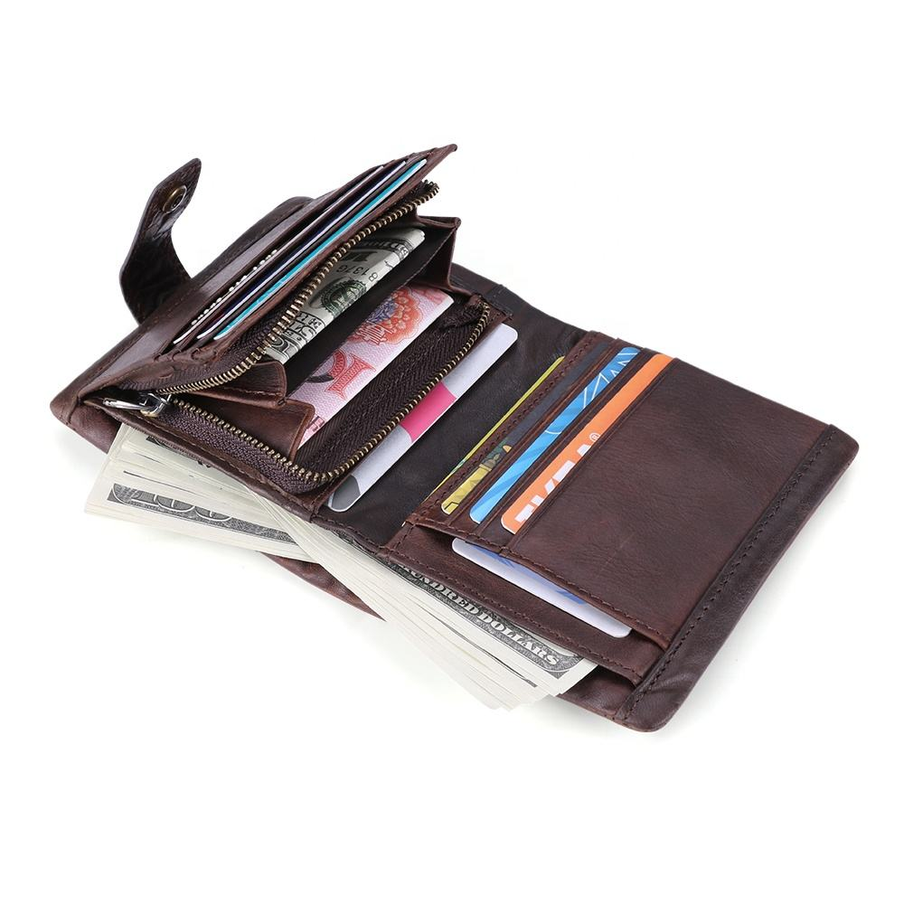 2020 New Fashion Custom Crazy Horse Leather Purse Rfid 3 Fold Genuine Cow Leather Wallet For Men With Coin Pocket