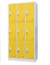 9 doors steel wardrobe storage cabinet used for office,school and hotel