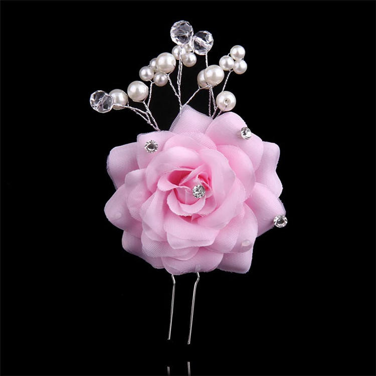 Best sale bridal pearl hair stick alloy fabric flower hair pin elegant