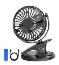 Portable Battery Operated Stroller 360 Degree Rotation Quiet 18650 Battery Mini USB Rechargeable Clip Table Fan