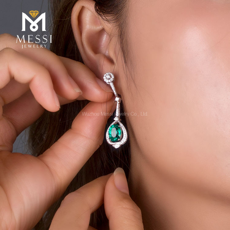 Messi Jewelry Wholesale HD Emerald Gemstone 18k Solid Gold Ring Women Earring Real
