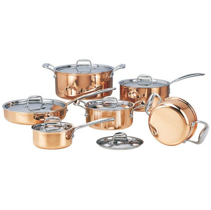 NO MOQ Luxury 12pcs Triply copper stainless steel cookware set with casserole in gift box