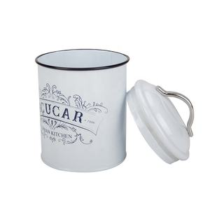 Powder Coated Metal Kitchen Storage Tea Sugar Coffee Canister Set 3 Jar Container Set of 3