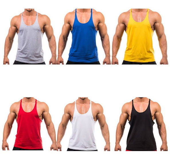 Custom logo tank top wholesale bulk cotton fabric mens stringer gym singlet