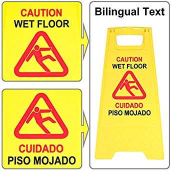 Commercial 24 Inch Safety Warning Sign 2-Sided Yellow A-Frame Caution Safety Warning Signs With Durable Quality