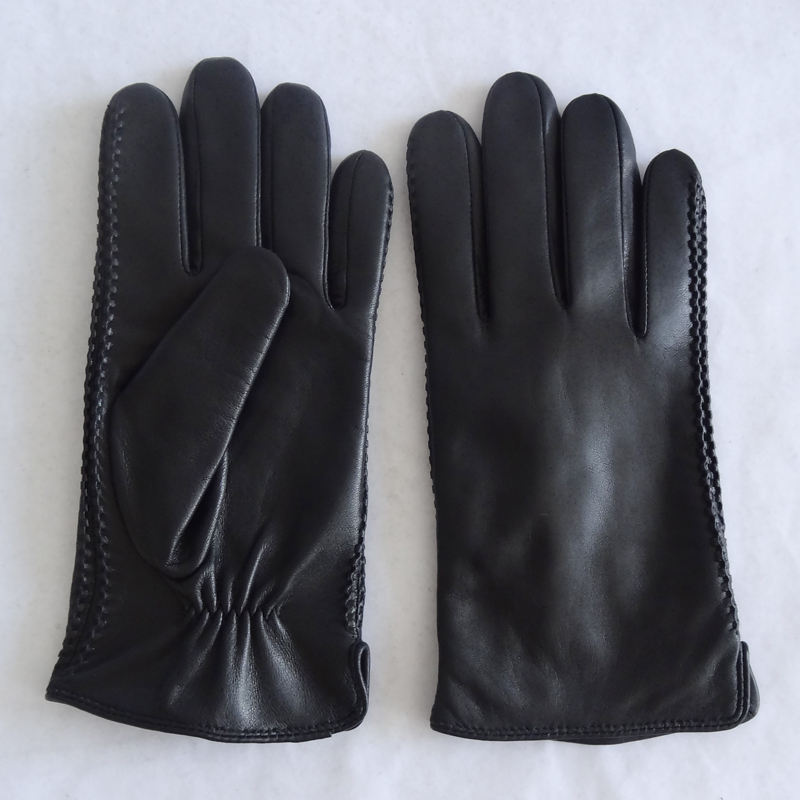New original cuff opening sheepskin elastic touch screen leather gloves for men