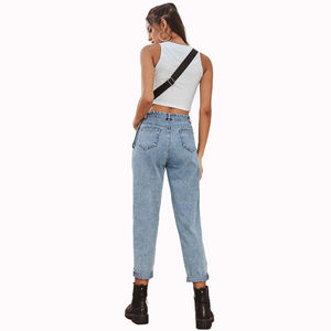 Explosive high waist European and American women jeans pants retro casual stitching high waist denim