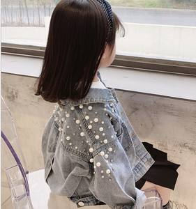 2020 New Kid Girl Denim Blue Jacket Cute Girl Jean Jacket with Pearls for 2-6 T