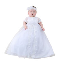 Nimble Professional Supply Long Style Formal Ruffled Lace Embroidery Unisex Baby Christening Favor