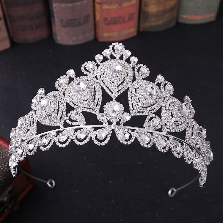 Wholesales Pageant Crown Customize Rhinestone Beauty Crowns Silver Crystal Rhinestone Crown For Women Tiara
