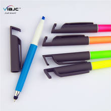 new multifunction color plastic highlighter and phone stand stylus touch ball pen