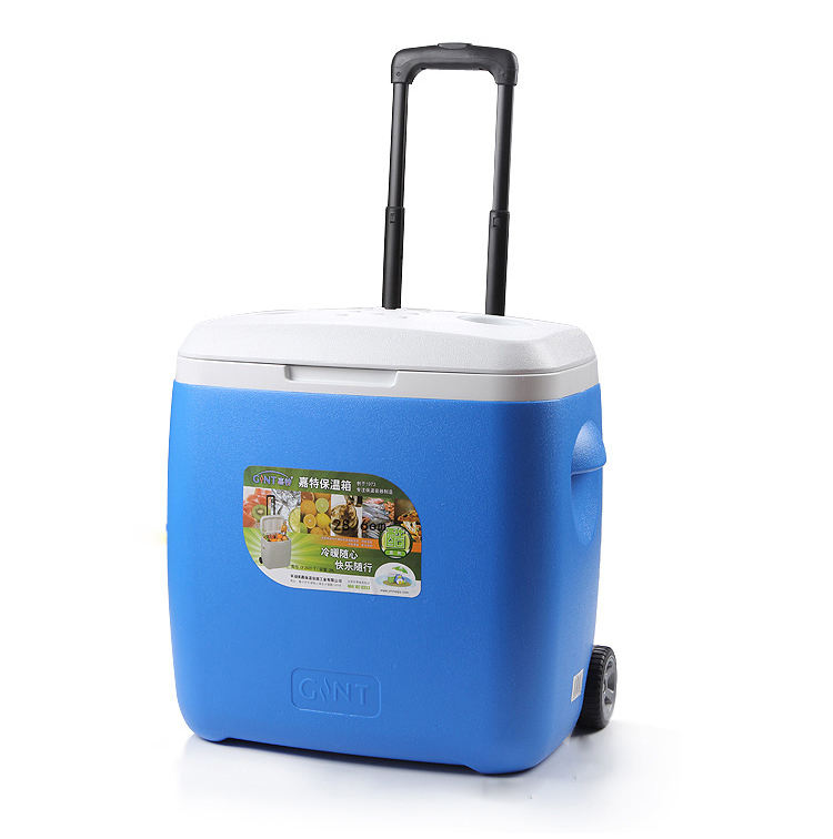 18L camping and fishing ice cooler box trolley cooler box with draw-bar