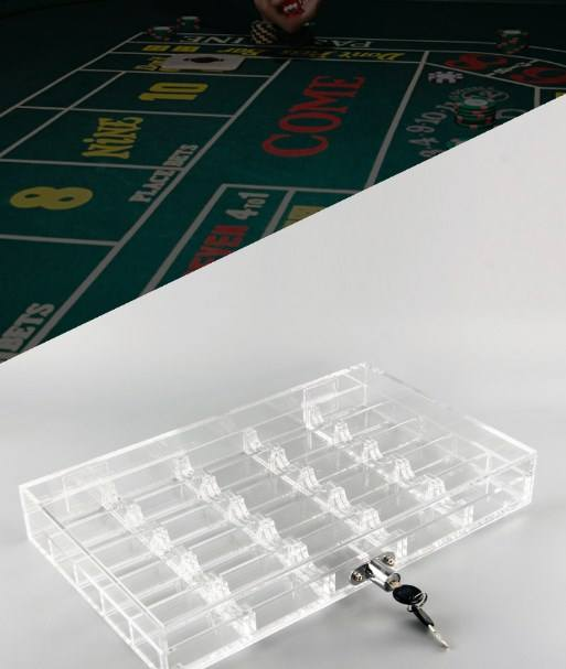 500/600PCS Casino Acrylic Transparent Poker Chips Game Tray/Box/Case With Cover/Lock Clear Texas Poker Accessories High Quality