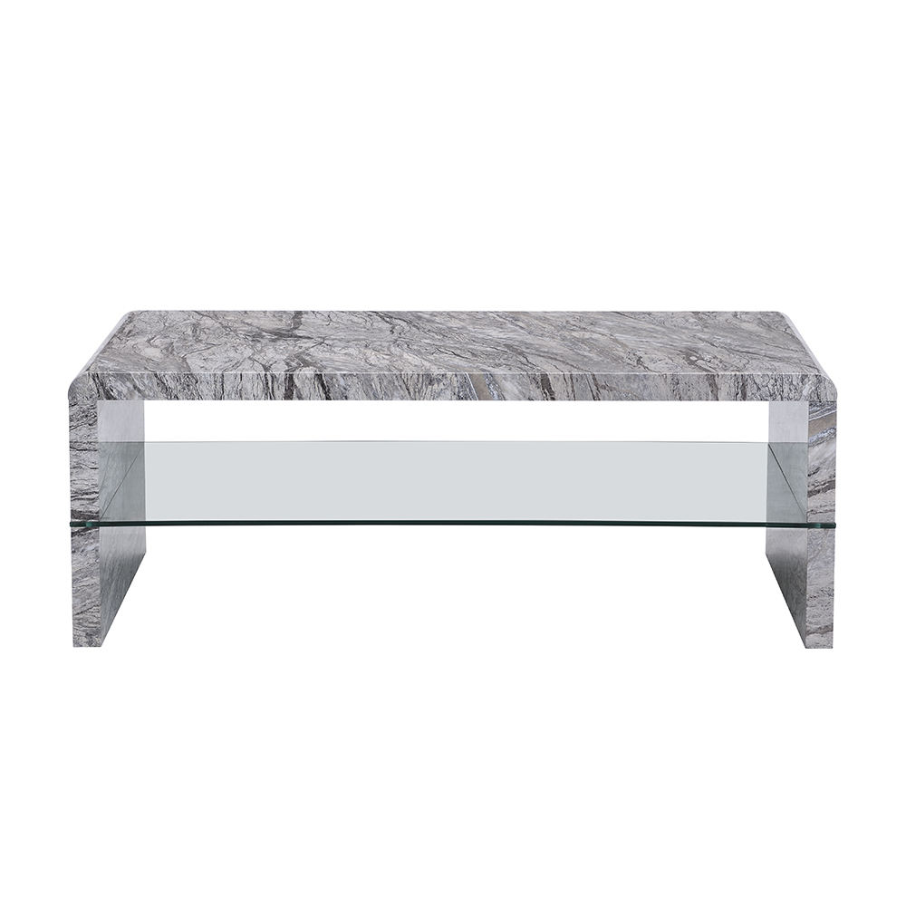 Modern Furniture SoHo Coffee Table for Living Room Center Table Marble Effects with Tempered Glass Shelf