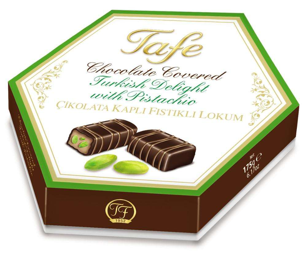 Turkish Delight Chocolate Covered with Double Roasted Pistachio Gift Carton Box 175g - 808 code