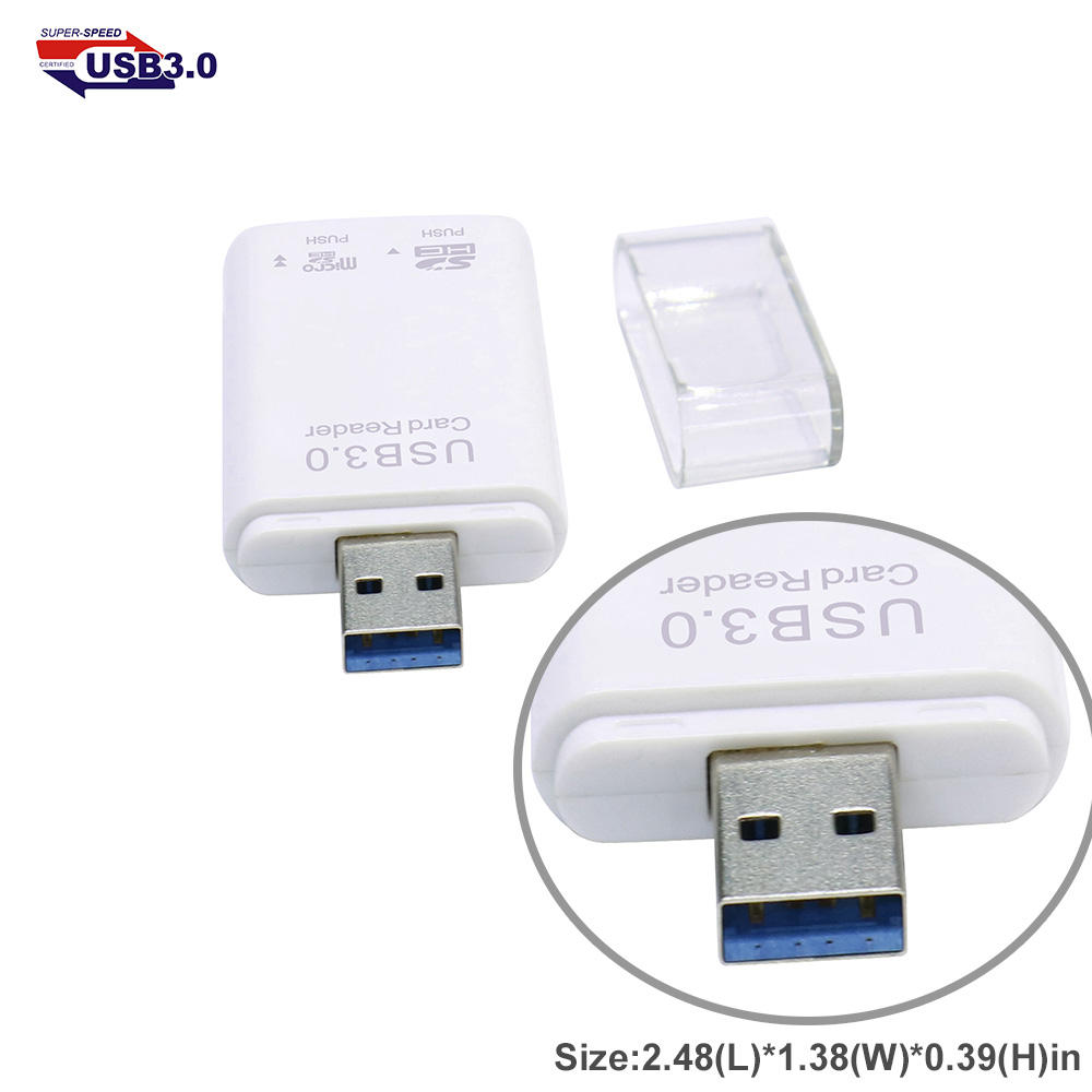 USB 3.0 Card Reader 2 slot for SD/MMC/RS-MMC + MicroSD/TF with Push